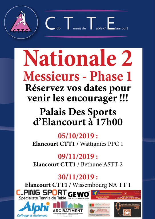 Matchs Phase 1 - N2 Messieurs