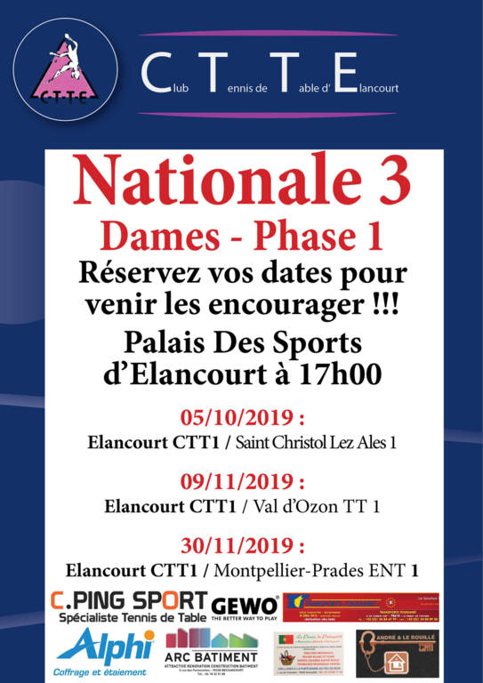 Matchs N3 Dames - Phase 1