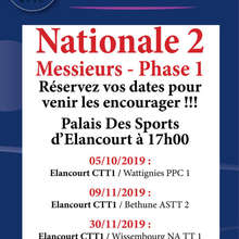 Calendrier phase 1 - N2 Messieurs